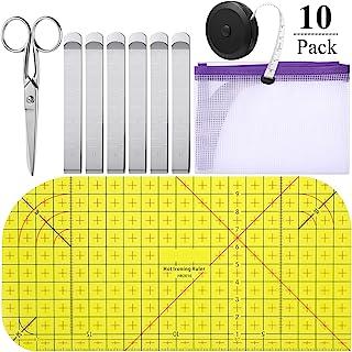 10 件烫热尺工具套装 1 件烫热尺尺 1 件卷尺 6 件缝纫夹尺 1 件缝纫剪刀和 1 件熨熨网布 DIY 工艺、缝纫