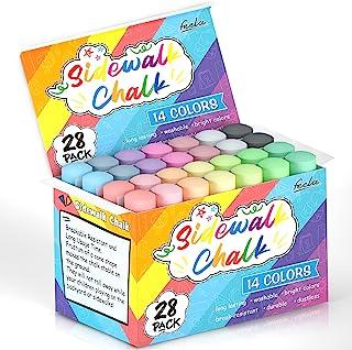Feela Sidewalk 粉笔,14 种颜色,28 件装儿童人行道粉笔批量套装,适用于幼儿,大号户外粉笔,适合儿童成人家庭,人行道学校黑板街道游乐场