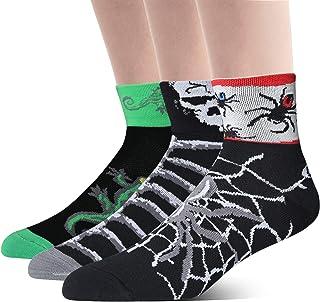 LIN COOLMAX 3件装运动自行车跑步 SPIN CLASS 徒步健身房训练酷炫趣味骑行袜子图案蜘蛛骷髅蜥蜴