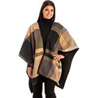 BYOS 女士冬季时尚超大双面格子柔软羊毛斗篷毯