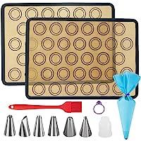 XIAOCAI 马卡龙硅胶烘焙垫套装,可重复使用的高温食品*硅胶烘焙垫,适用于制作马卡龙、糕点、披萨、面包(16.5 x…