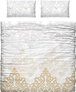 Versace 范思哲 19 V69 被套和枕套 适用于单人床 由涤棉制成 金色 35 × 25 × 7 厘米 3 件套