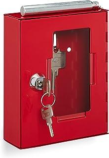 Relaxdays 紧急钥匙盒 带玻璃盘 & 玻璃破碎锤 可锁 金属 应急钥匙盒 小号 红色 1 件