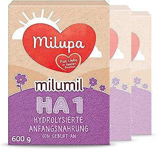 Milupa Milumil 婴儿奶粉 HA 1段(适用于初生婴儿),3盒装(3 x 600g)