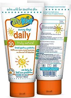 TruKid Sunny Days 日常 SPF 30+ UVA / UVB礁石安全防晒乳液,矿物质基,对面部和身体均安全 3.4 oz/100毫升