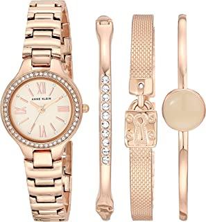 Anne Klein 安妮克莱因 女士施华洛世奇水晶点缀手表和手链套装 AK/3582