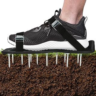 Globalstore 草坪曝气器鞋重型尖头带可调节肩带,草坪尖头鞋,通用尺寸草坪充气凉鞋,Gunite Spiked 鞋,适用于庭院草坪花园