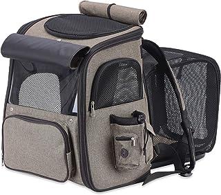 CHIJIRE 宠物背带背包,小型犬背包,可扩展透气网眼,适合小型犬猫,宠物背包包,适合徒步旅行旅行露营,可容纳体重不超过 18 磅(约 8.2 公斤)的宠物。(棕色)