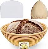 专业圆班尼顿防护篮(22.86cm)面团与布料衬里和碗刮刀盒,尺寸适中,面包形状和面粉圈图案 Natural Ratta…