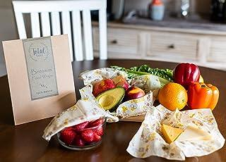 蜂蜡包装组合 3 件装 – *蜂蜡可重复使用食品包装 – 可持续、可生物降解、环保 – 食品存储零浪费家庭