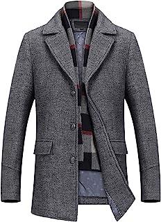PRIJOUHE 男式羊毛外套冬季外套修身中长款大衣男款