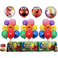 Sesame Street 灵感气球花束 Elmo & Friends 桌布和聚酯薄膜气球 儿童生日派对用品 婴儿派对装…
