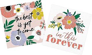 婚礼招待会鸡尾酒饮料餐巾 - 腮红,珊瑚色,粉色花卉纸餐巾套装   适用于婚礼、新娘送礼会、周年纪念、订婚派对   2 件装 20 张一次性餐巾