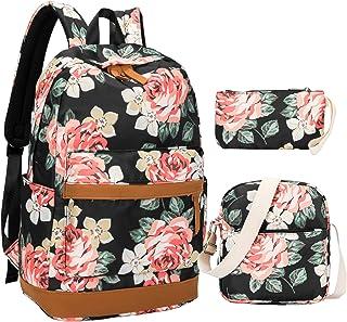 BLUBOON 帆布书包 学生背包 笔记本电脑书包 适合少女高中 A006 花卉 黑色-3件 17 x 13 x 6.3 inches