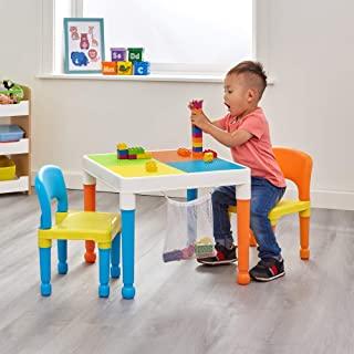 Liberty House Toys 652F-1 多用途积木拼装桌,配有储物袋