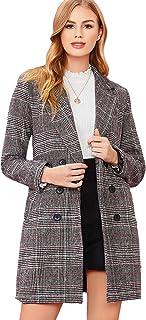 SheIn 女式翻领外套长袖格子外套外套