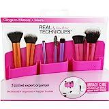 Real Techniques,3 个收纳盒,粉色化妆刷收纳盒,方便整理化妆刷