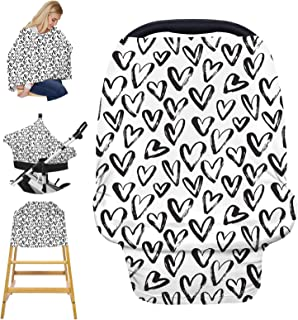 汽车座椅套护理罩 - 婴儿扎染汽车座椅遮阳篷,弹性*喂养罩哺乳围巾适合婴儿男孩和女孩送礼礼品(爱心)
