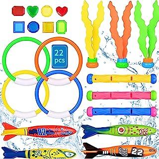 Babigo 潜水泳池玩具套装,22 件儿童泳池玩具,包括潜水环、潜水棒、潜水鱼雷玩具、宝藏、水下下下沉池池玩具,适合女孩和男孩