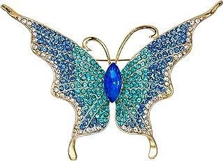 Flyonce 水晶优雅翅膀蝴蝶胸针 适合女士女孩 昆虫动物别针