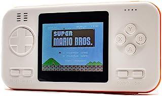 B-THERE 游戏移动电源控制台 3 合 1-416 复古视频游戏 - 无线 Qi 充电 - 8000mAh USB 便携式充电器电池 - 2.8' 彩色屏幕 - 适用于手机、平板电脑等game phone charger 白色和橙色