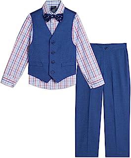 Tommy Hilfiger 汤米·希尔费格 男童 4 件套正式套装,包括连衣裙衬衫、正装裤、背心和领带, 尺码 12M - 24M (男婴)