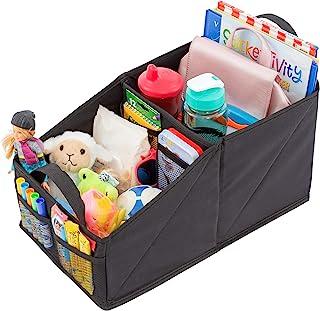 Lusso Gear 前排或后排座椅座椅收纳包 黑色拼接 非常适合成人和儿童使用 9 个储物隔层可放置玩具、杂志、组织、地图、书籍、文件、游戏等