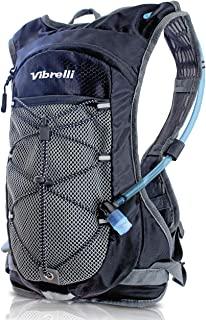 Vibrelli 水袋& 2 升水袋 - 高流量咬阀 - 带存储水袋的补水背包 - 轻质跑步背包,也适用于骑自行车、徒步旅行、滑雪、雪,适合男士、女士和儿童