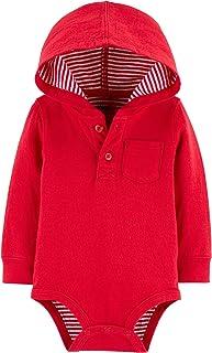 OshKosh B'Gosh 男孩红色连帽口袋连体衣条纹衬里,长袖,尺码 24 个月