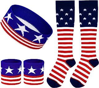 5 件条纹美国国旗运动带套装旗帜高筒袜彩色运动带男女跑步骑行网球篮球瑜伽