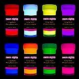 Neon Nights 高级夜光丙烯酸颜料套装 – 8 件套专业级霓虹色工艺漆 – 德国手工制作持久自发光漆 – 8 x…