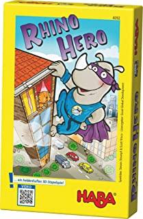HABA 4092 – Rhino Hero,令人兴奋的3D 堆叠游戏,适合 2 – 5 个*英雄,简单的规则,快速游戏乐趣,适合全家人玩耍。