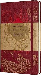 Moleskine 哈利·波特限量版笔记本,带掠夺者地图主题图形和细节的横格笔记本,精装封皮,大尺寸13 x 21厘米,红色,240页