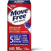 Schiff 旭福 Move Free 益节 Ultra Plus 褪黑素,一盒80粒,葡萄糖胺和软骨素+褪黑素片剂,支…