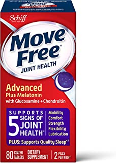 Schiff 旭福 Move Free 益节 Ultra Plus 褪黑素,一盒80粒,葡萄糖胺和软骨素+褪黑素片剂,支持移动性,灵活性,强度,润滑和舒适性以及优质的入睡体验