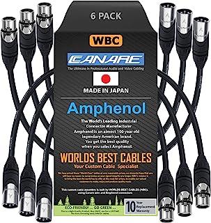 6 件 - 1 英尺 - Canare L-4E6S,Star Quad 平衡公对母麦克风电缆,带 Amphenol AX3M 和 AX3F 银色 XLR 连接器 - 由 WORLDS BEST CABLES 定制