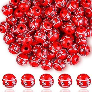 80 件圣诞木珠 16 毫米圆形雪花珠木质散珠花花环圣诞装饰手工手链首饰制作和 DIY 手工艺(红色)