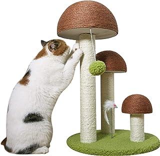 PutnPurr 蘑菇猫抓柱,带老鼠玩具和悬挂球 – 采用耐用的剑麻材料手工制作,以保护您的家具