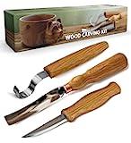 BeaverCraft S14 木制雕刻工具套装,木制雕刻钩刀,勺子,碗,Kuksa瓢,杯,雕刻木凿(雕刻勺套装)