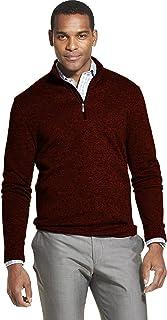 Van Heusen 男式 Flex 长袖 1/4 拉链软毛衣羊毛 辣椒油 Medium