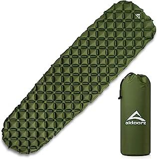 Aldoorz 野营睡垫 – 超轻、充气、气垫床垫 – 适合背包、露营和徒步旅行的*佳睡垫,包括便携包 – 轻质露营睡垫和维修套件