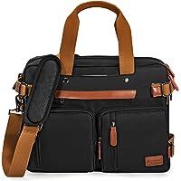 POSO 可转换背包笔记本电脑包旅行公文包 牛津简约大容量 多功能商务背包 适合 17.3 英寸(约 43.9 厘米)男…
