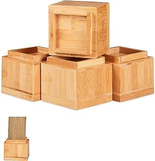 Relaxdays 家具增高器 4 件套,增加 8.5 厘米,适用于餐桌、椅子和其他家具,高 x 宽 x 深 10 x 11.5 厘米,颜色 自然 4 Stück 10028827_126
