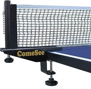 Comesee 专业乒乓球乒乓球网柱套装强度螺丝夹带网夹插入,1.5 英寸(约 3.8 厘米)宽握柄支架,张力和高度可调,易于安装(黑色)