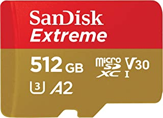 SanDisk 闪迪 Extreme 512 GB microSDXC存储卡+具有A2 App性能的读卡器+ Rescue Pro Deluxe,高达160 MB / s,Class 10,UHS-I,U3,V30