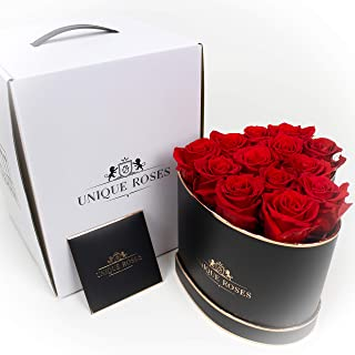 独特的玫瑰 - 可持续一年的真正玫瑰 - 心形盒子中保留的玫瑰(红玫瑰/黑盒)