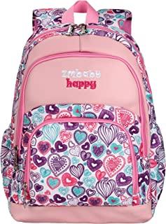 Sarhlio 儿童背包 15 英寸适合女孩和男孩 心形和几何图案 心形粉色