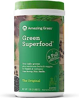 Amazing Grass Green Superfood 粉末,螺旋藻,小球藻,消化酶和益生元,原始,60份,480克