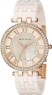 Anne Klein AK / 2130RGLP 女士玫瑰金色调和浅粉红色陶瓷手链手表,施华洛世奇水晶配饰