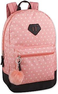 女孩时尚背包,带加固乙烯基底部和附赠 PomPom 钥匙扣